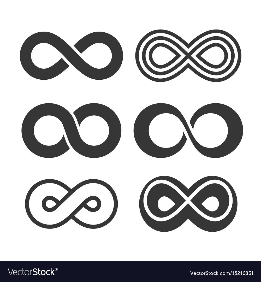 Infinity Symbol Icons Set Royalty Free Vector Image