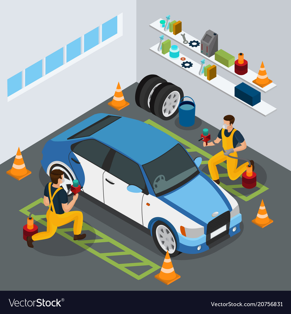 Isometric auto service concept