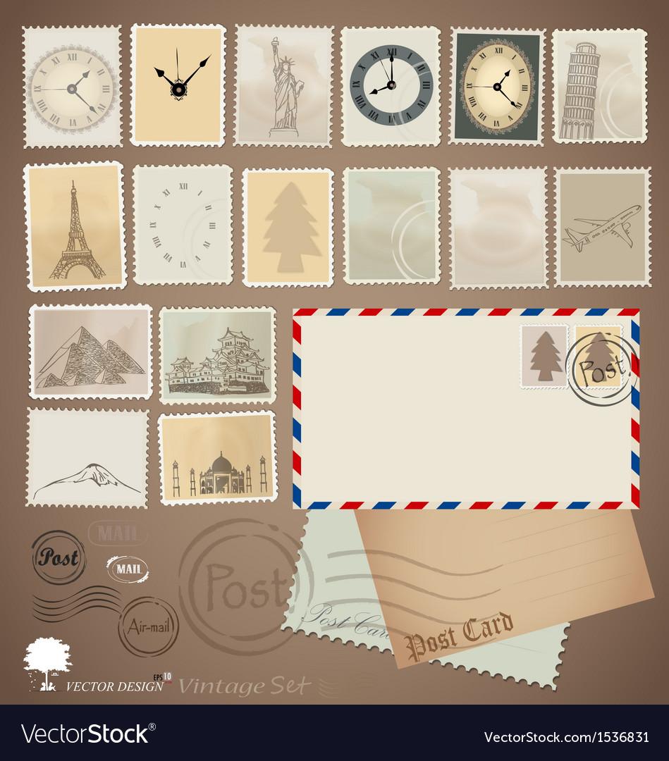 Set Vintage stamp designs envelope and postcard vector image