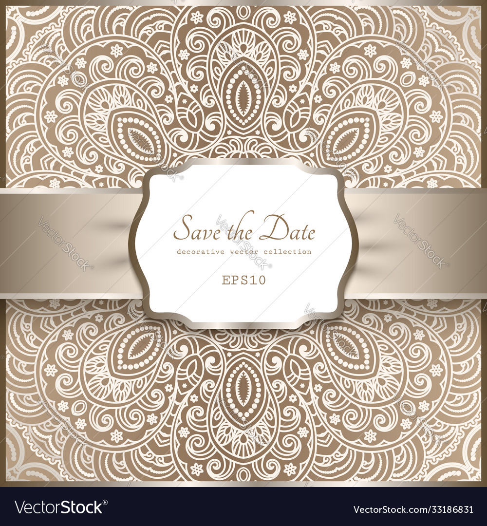 Vintage background with lace pattern and label
