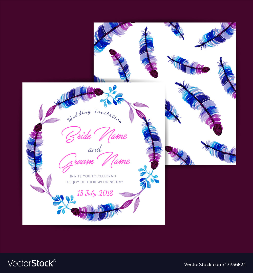 Watercolor floral wedding invitation card Vector Image