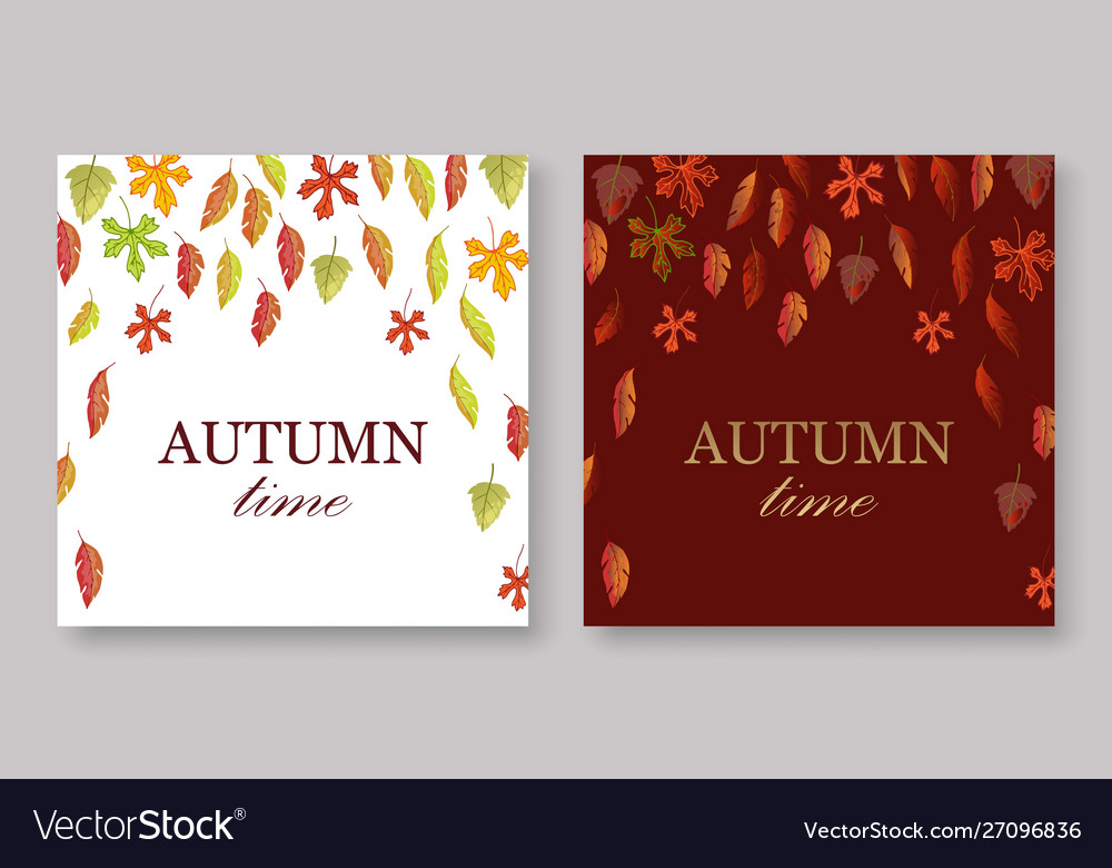Autumn leaves banners set with white and burgundy
