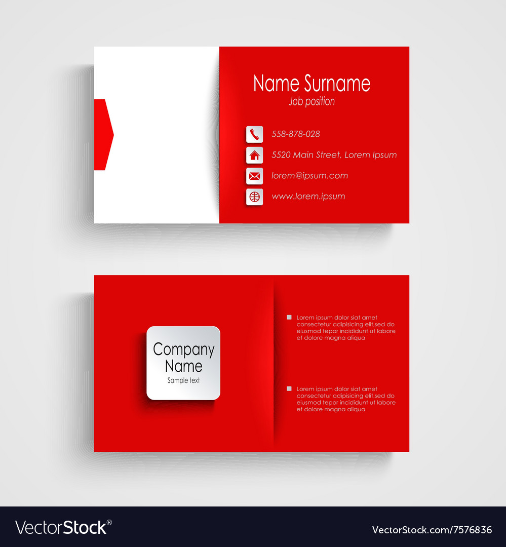 Business card with red white background template vector image fbccfo Choice Image