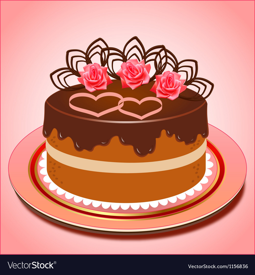 Chocolate cake with hearts and roses vector image