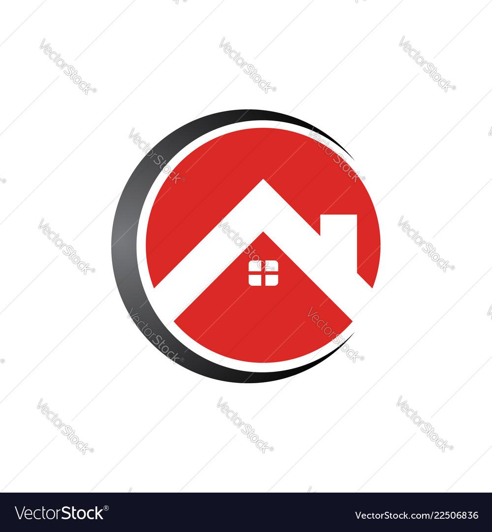 Circle real estate home logo template design