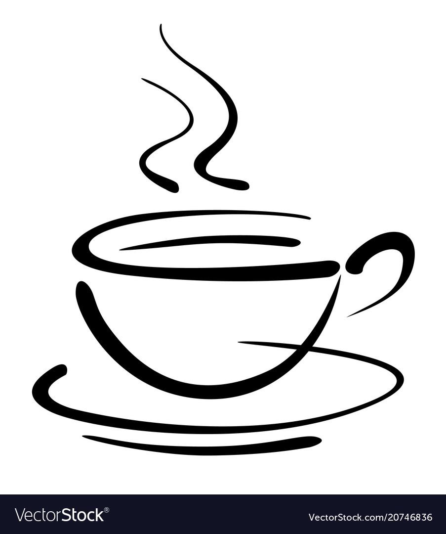 Coffee Cup Art Draw Royalty Free Vector Image Vectorstock