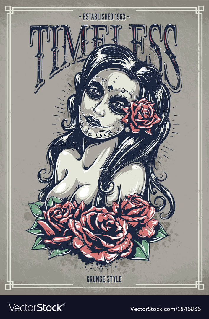 Day dead sexy girl vector