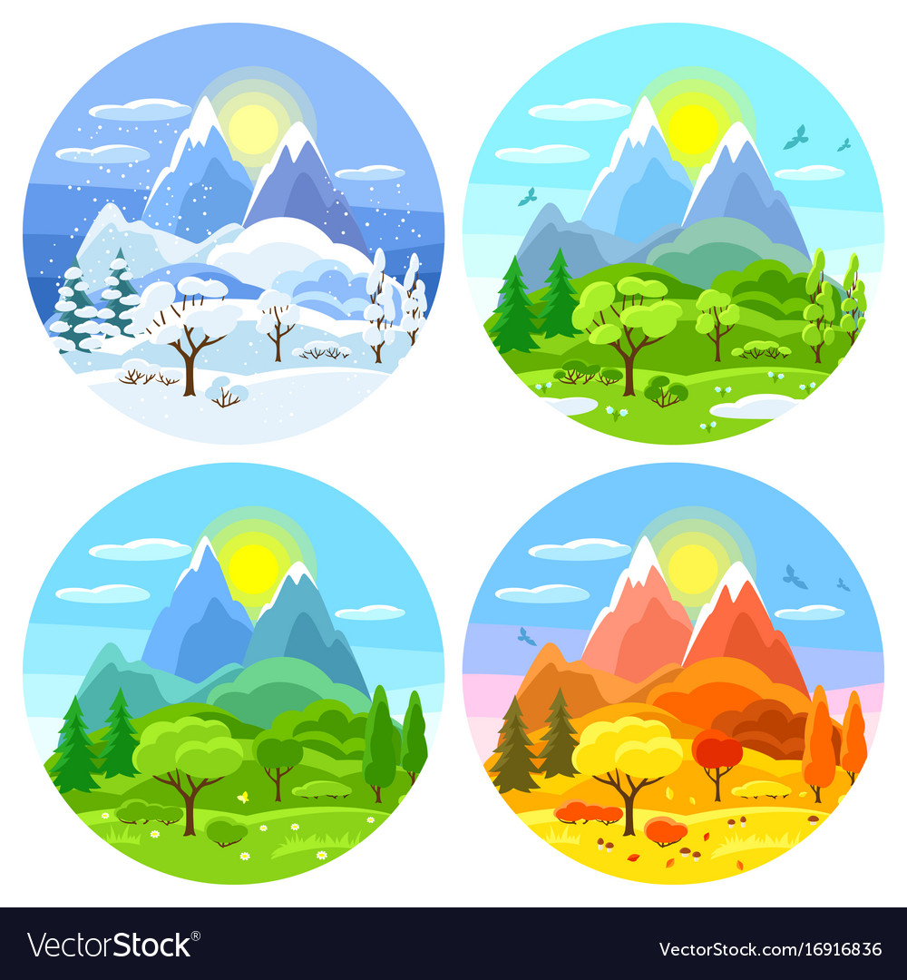 Four seasons landscape with trees vector image - Four Seasons Landscape With Trees Royalty Free Vector Image