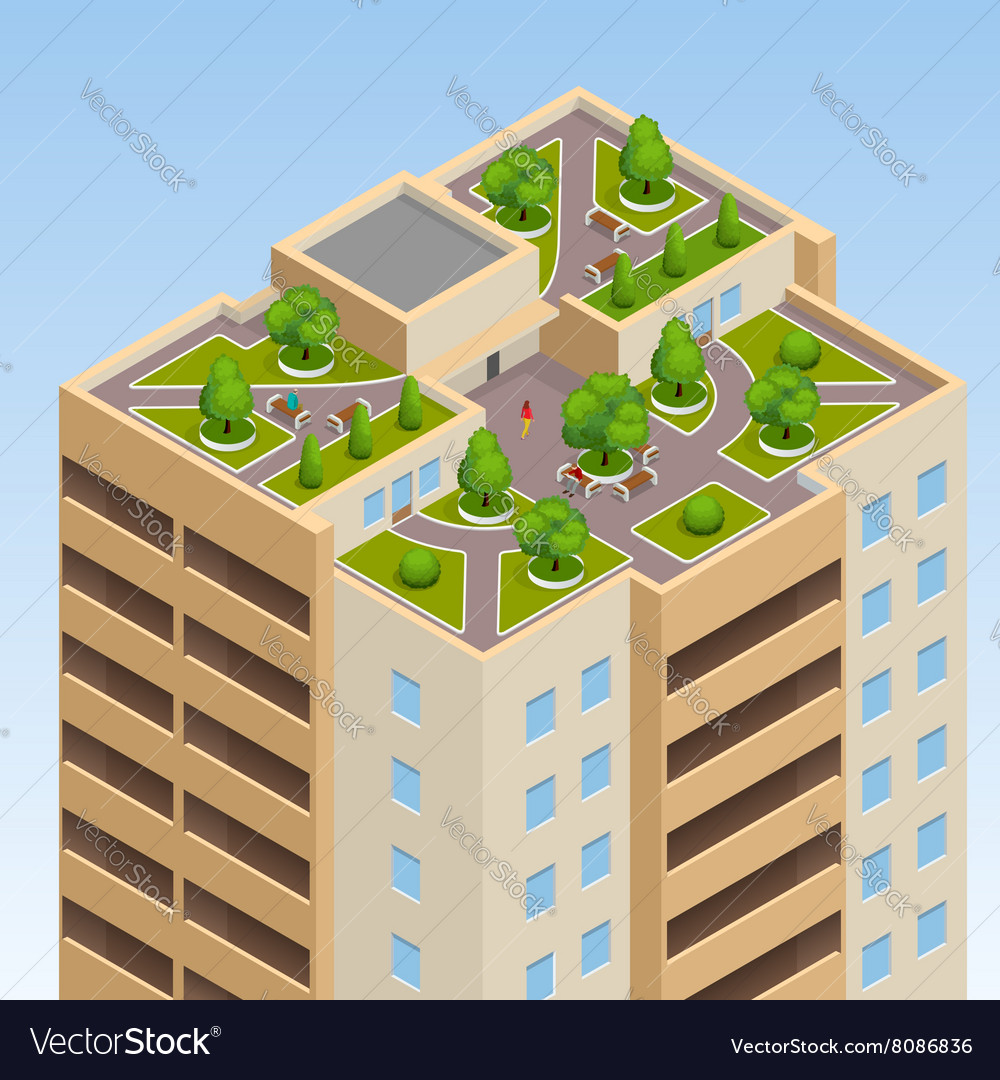 Green roofs roof garden eco roof Flat 3d