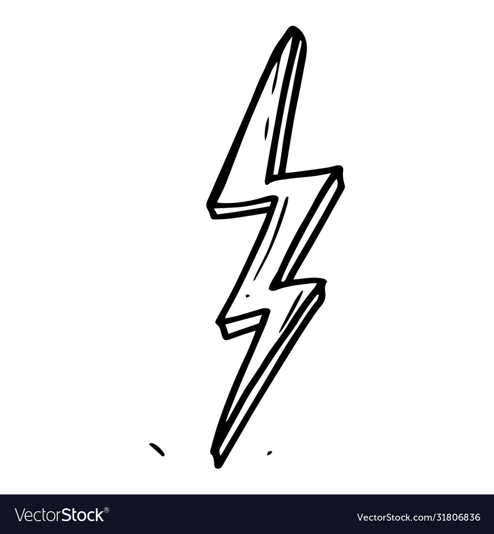 Hand drawn doodle electric lightning bolt symbol