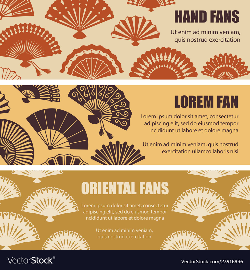 Hand oriental fans silhouettes banners