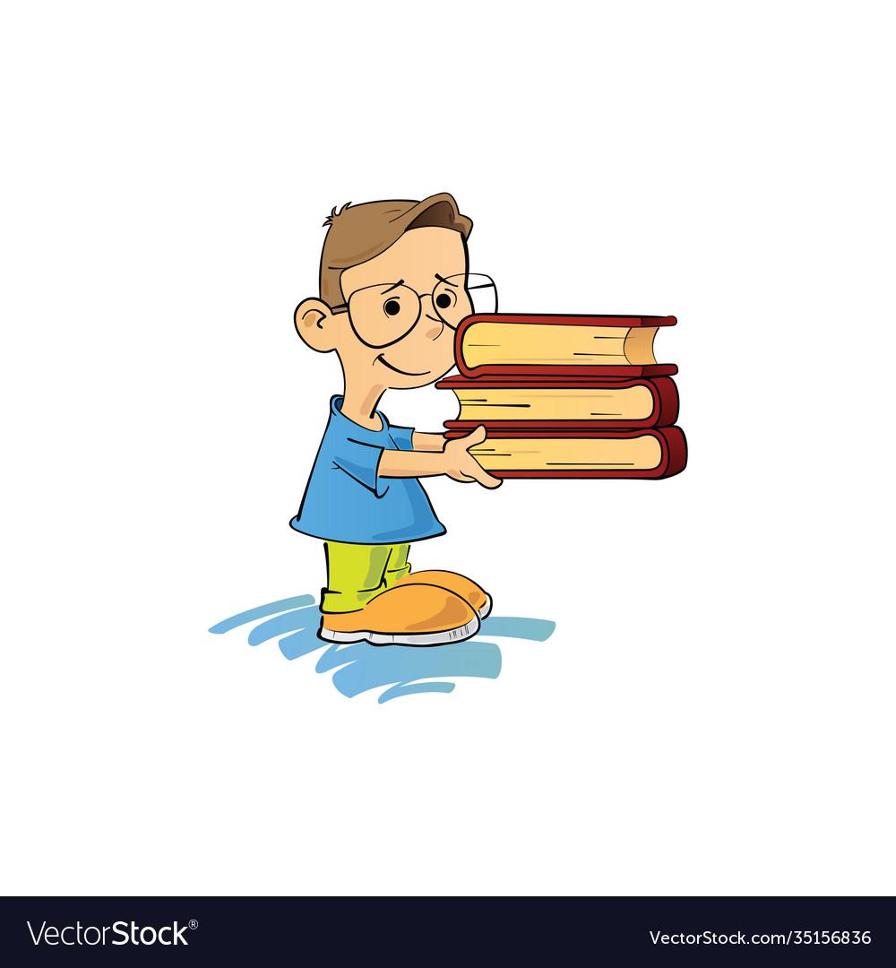 Kid and books