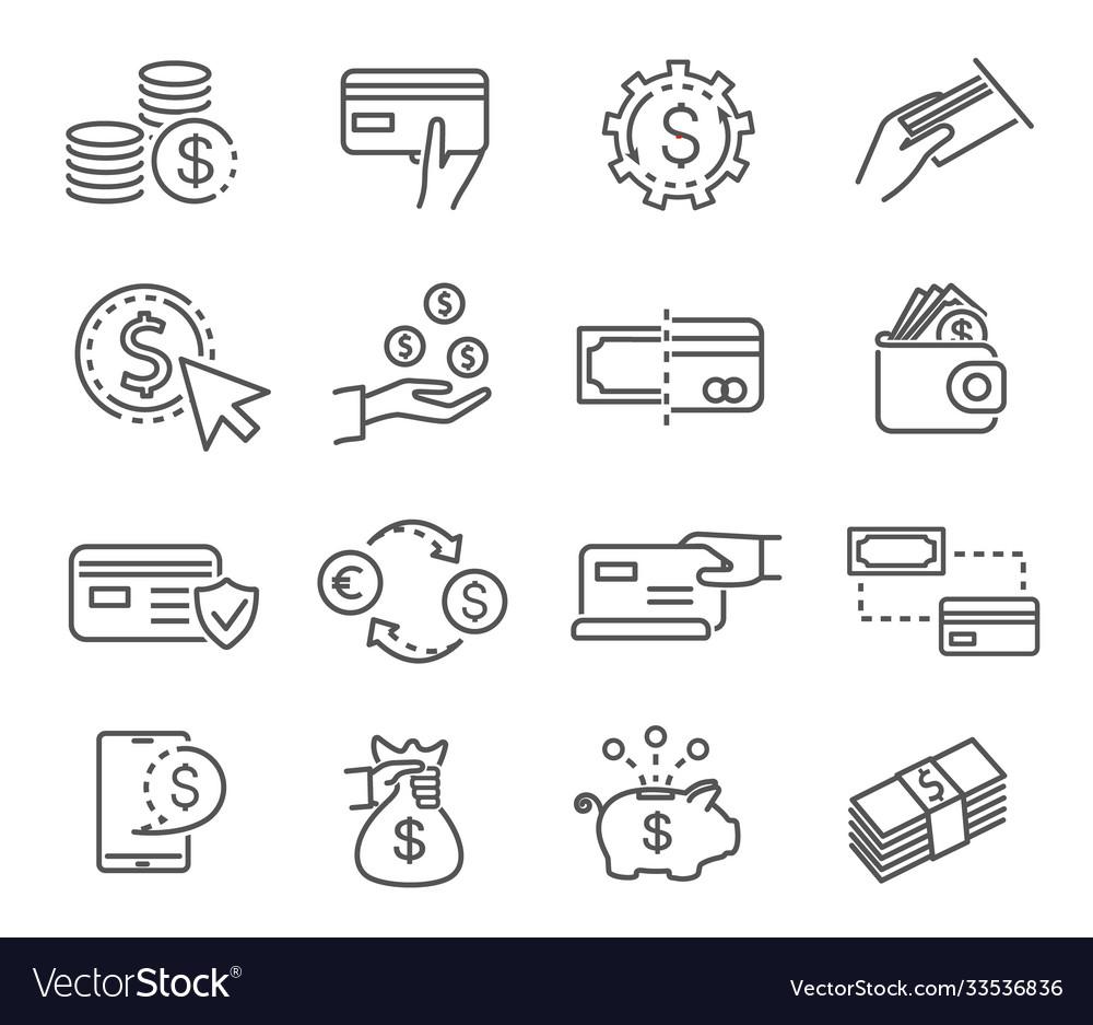 Large set black and white money icons