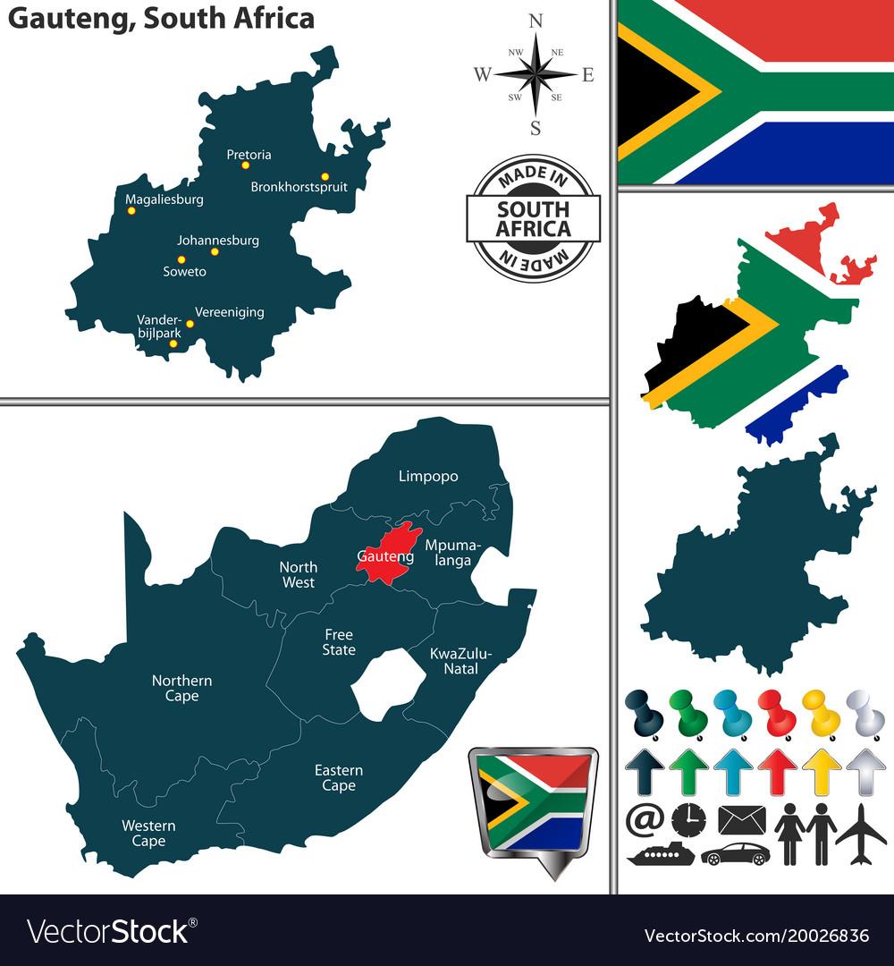 Gauteng South Africa Map Map gauteng south africa Royalty Free Vector Image