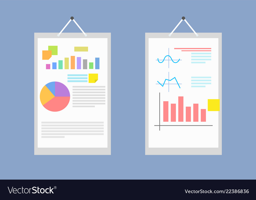 Pair of big white papers with collection of charts