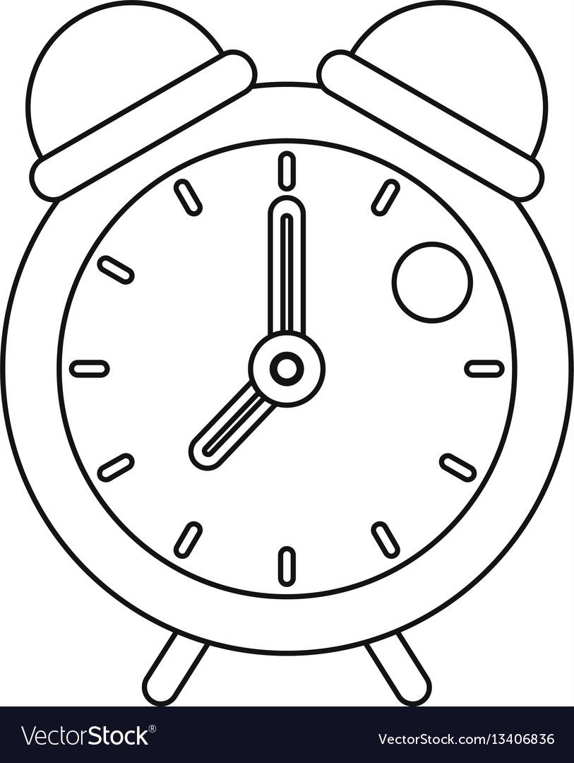 Retro alarm clock icon outline style