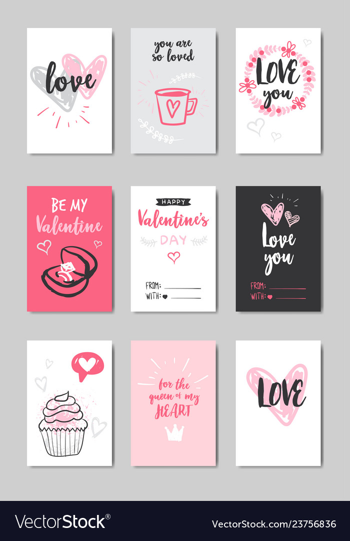 Set different love greeting cards happy valentines