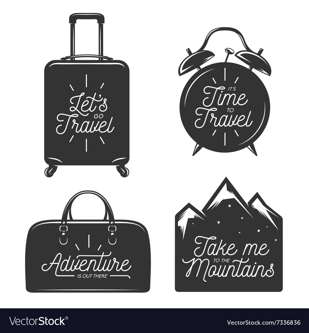 Travel typography set of design elements