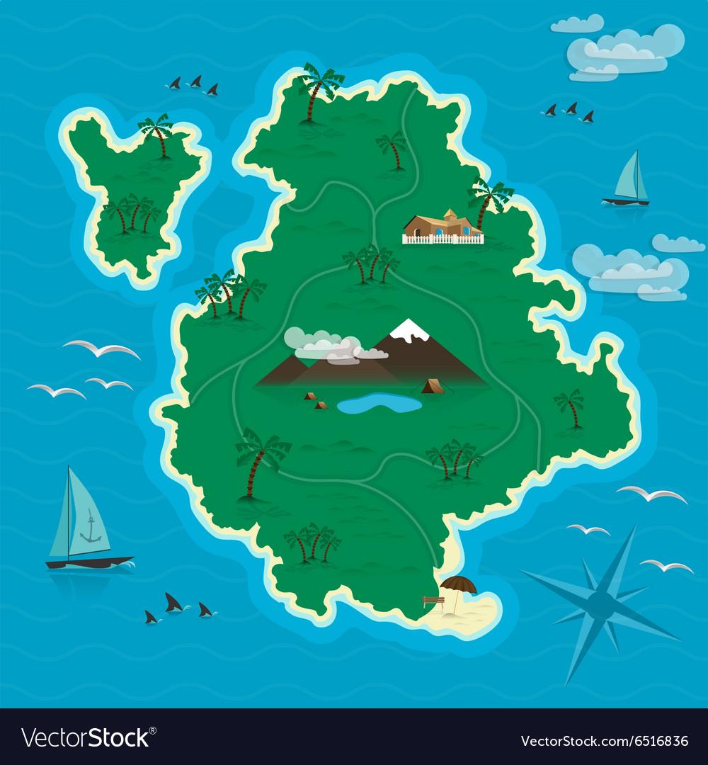 Tropical island in the blue sea