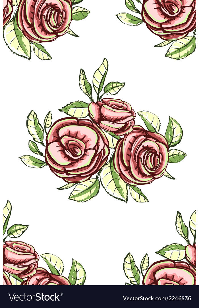 Vintage Roses Seamless Pattern Background
