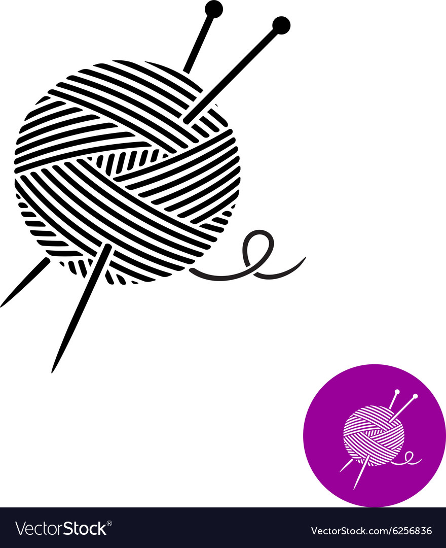 Yarn ball with needles logo Black and white color vector image