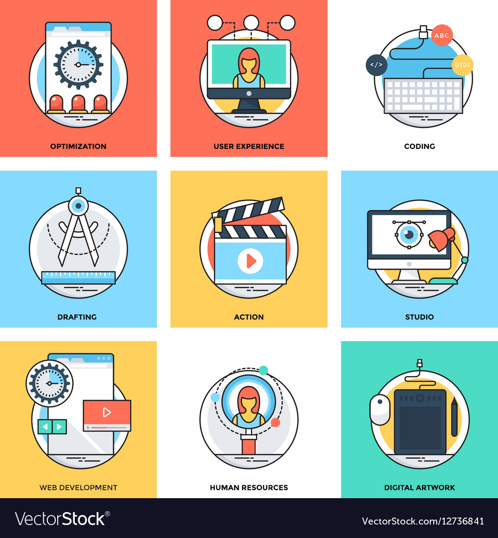 Flat Color Line Design Concepts Icons 12 vector image