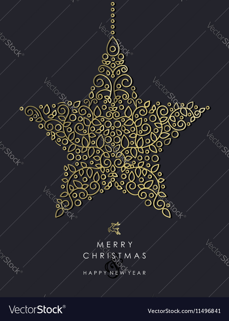 Gold Christmas and new year ornamental star shape