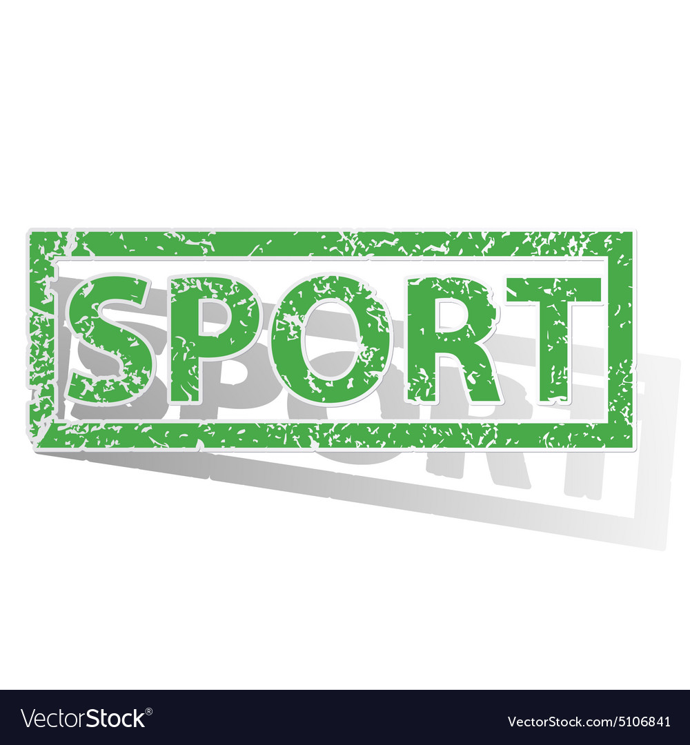 Green outlined SPORT stamp vector image on VectorStock
