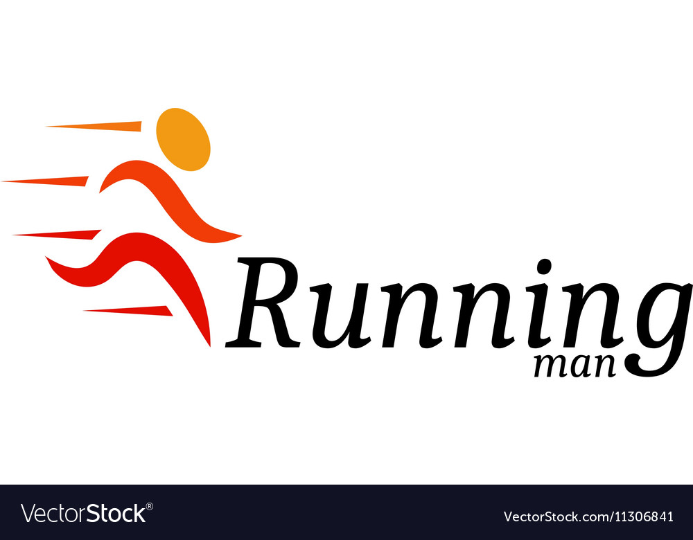 Isolated abstract orange color running man logo