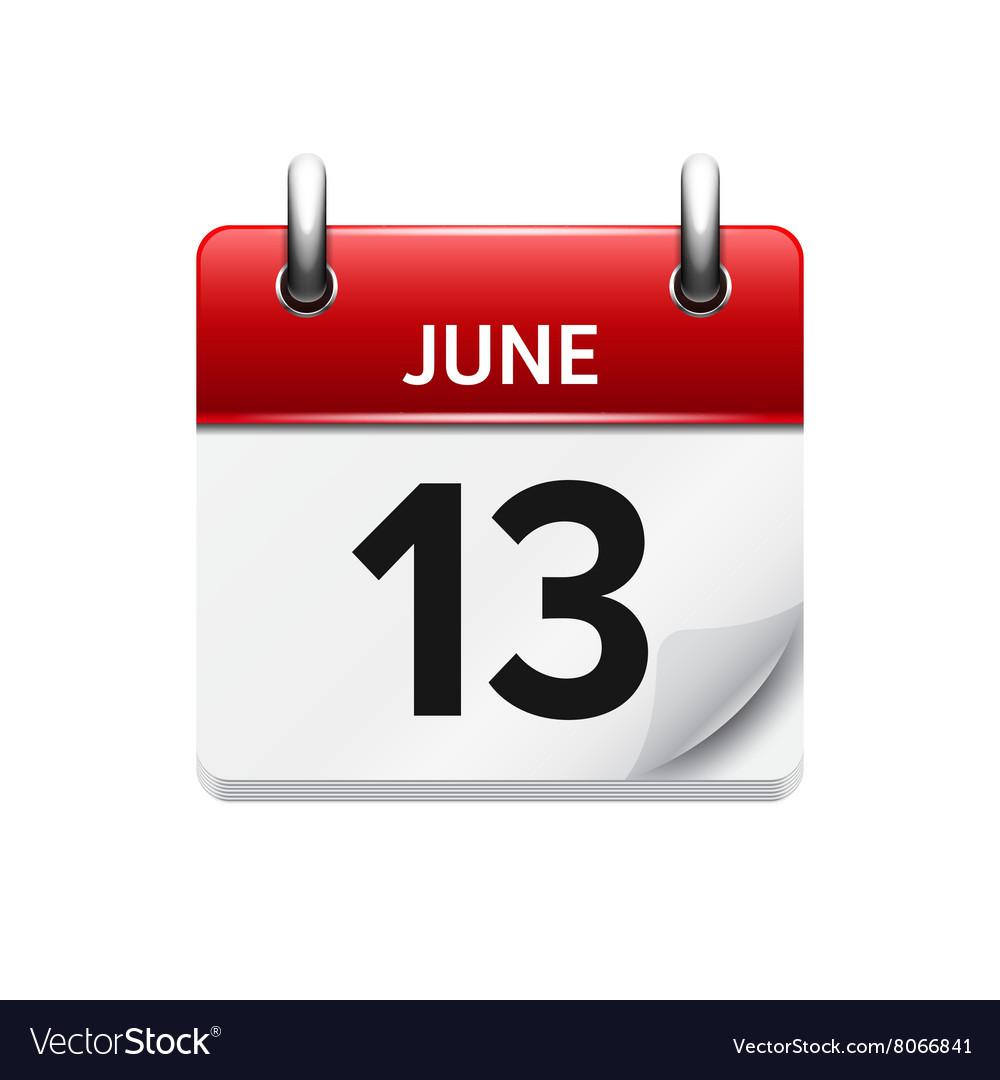 June 13 flat daily calendar icon Date