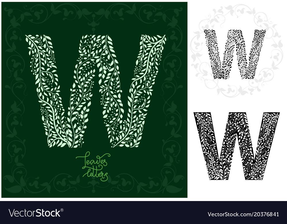 Leaves alphabet letter w