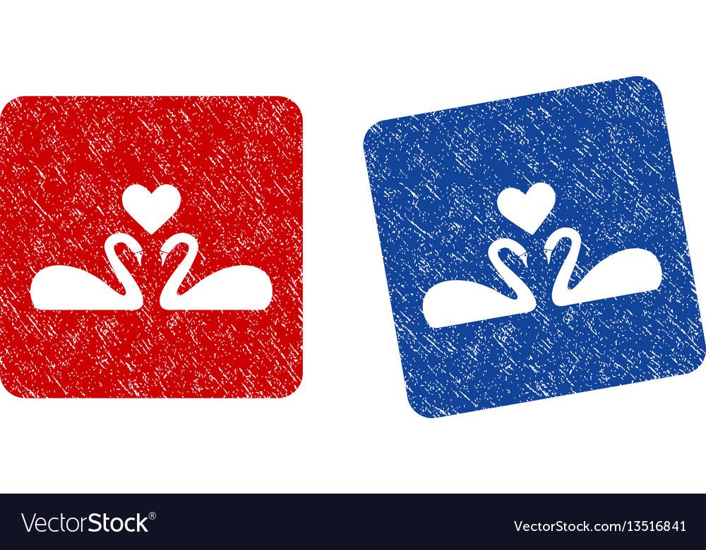 Love swans grunge textured icon