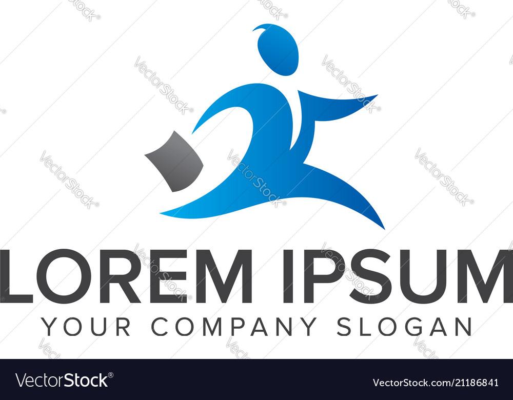 Running businessman icon logo design concept