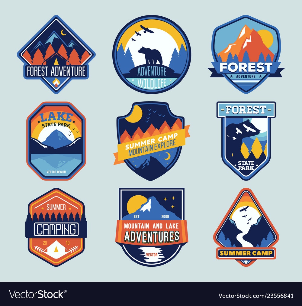 Set of badges with mountain peaks and forest camp