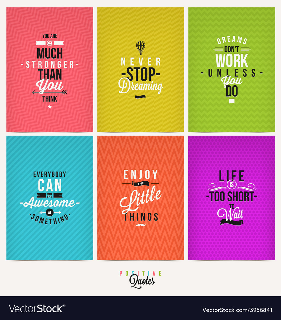 set of positive quote typographical background vector image