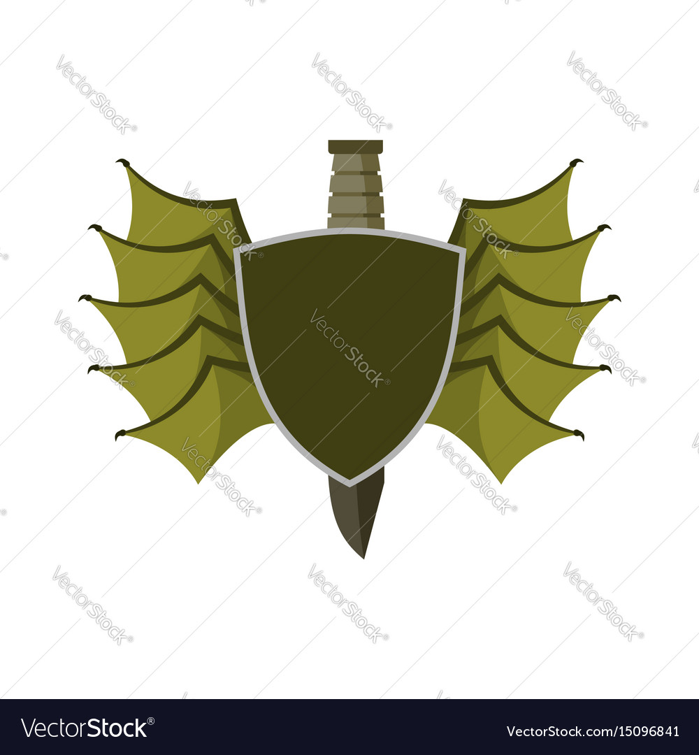 Shield and bat wings emblem devil wing heraldry