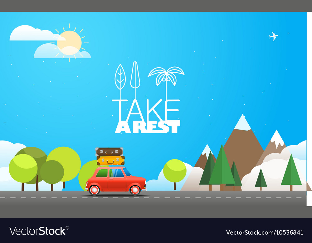 Take Vacation travelling concept with the red car