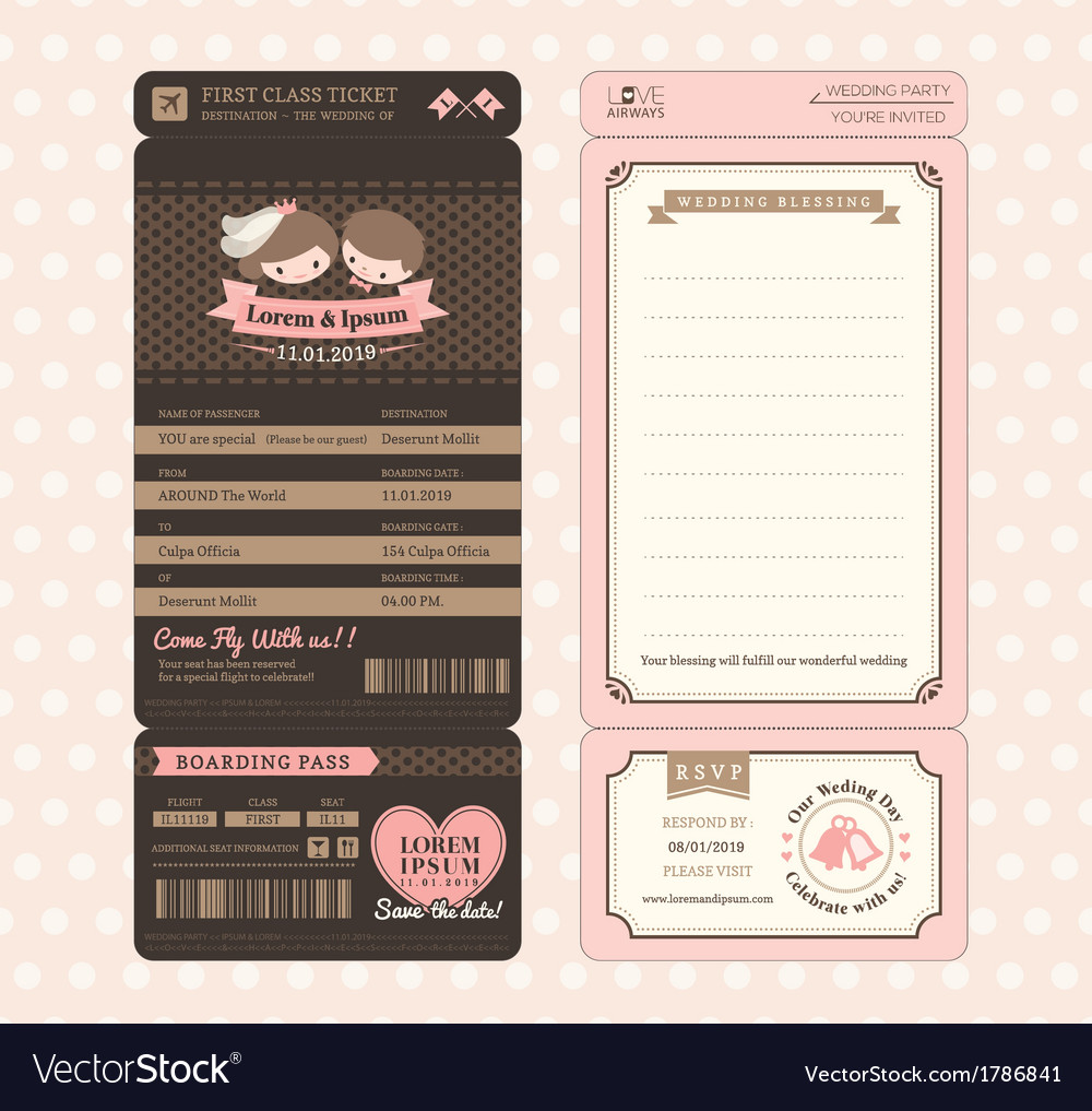 vintage boarding pass wedding invitation template vector image