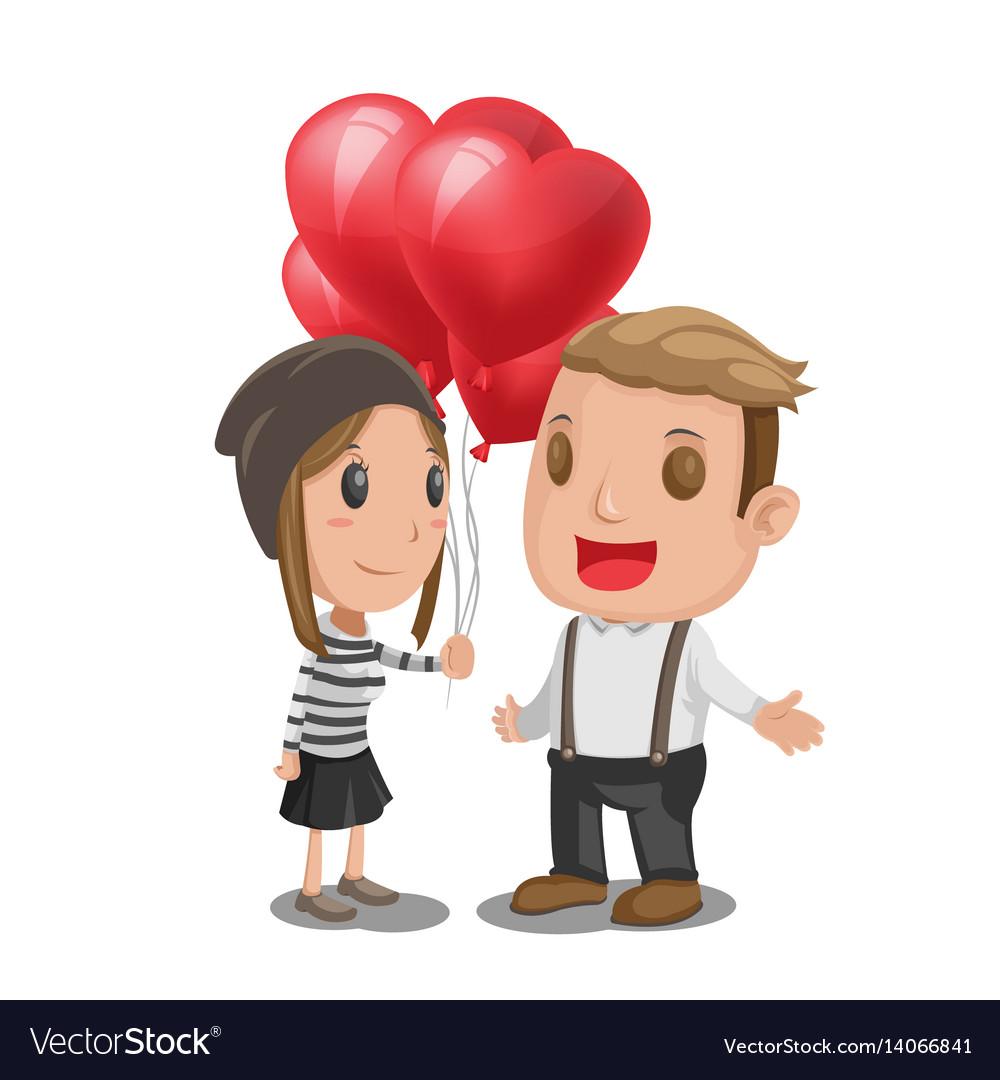 Woman give heart balloon man
