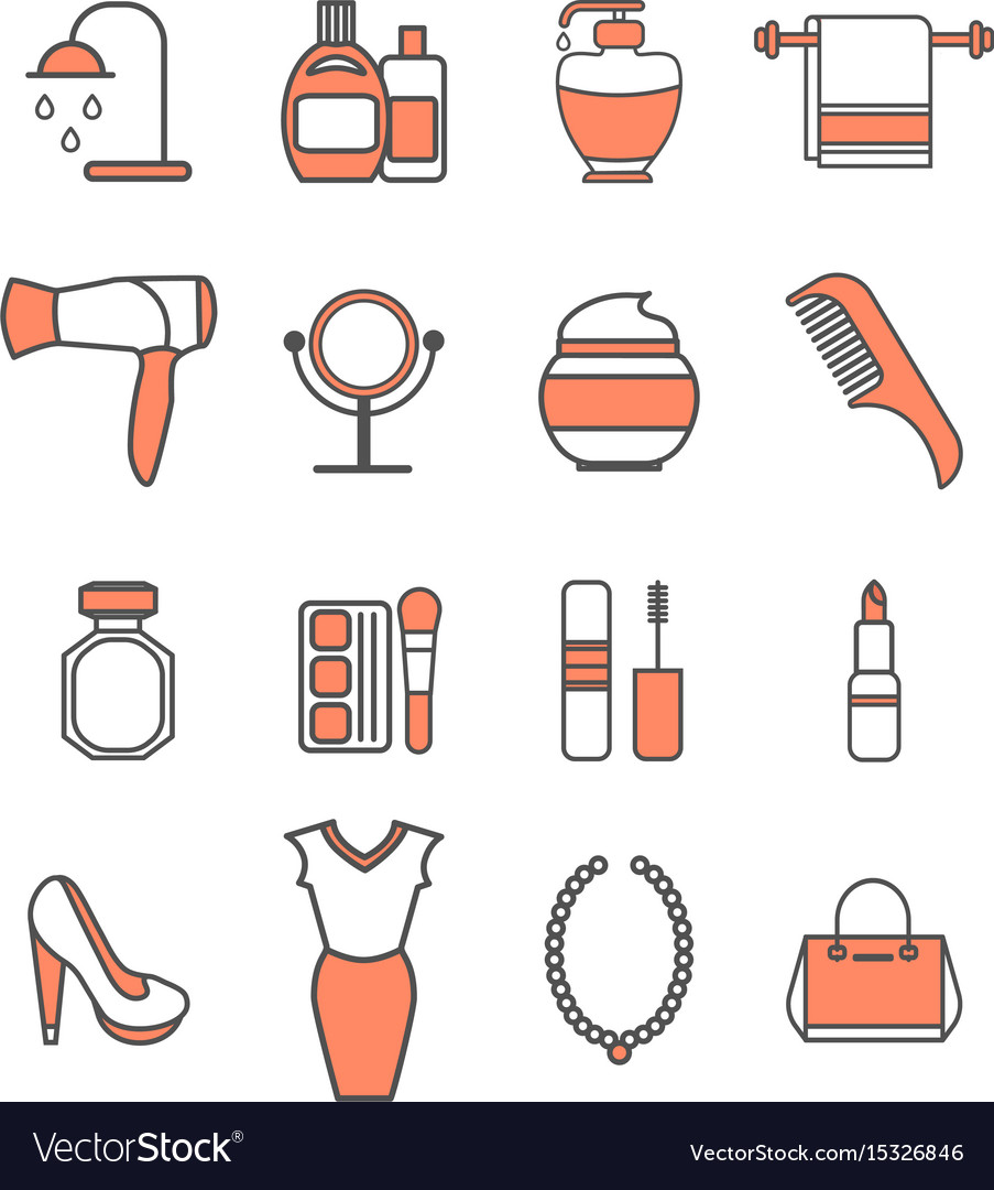 Beauty icons set vector image