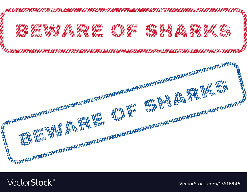 Beware of sharks textile stamps