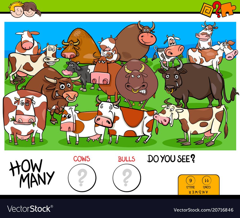 Counting cows and bulls educational game for kids