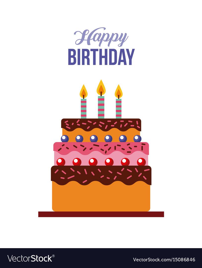 Happy birthday kawaii cake Royalty Free Vector Image