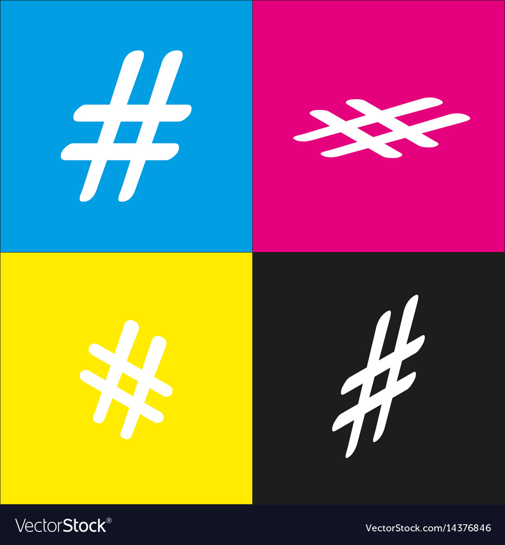 Hashtag sign white icon with vector image