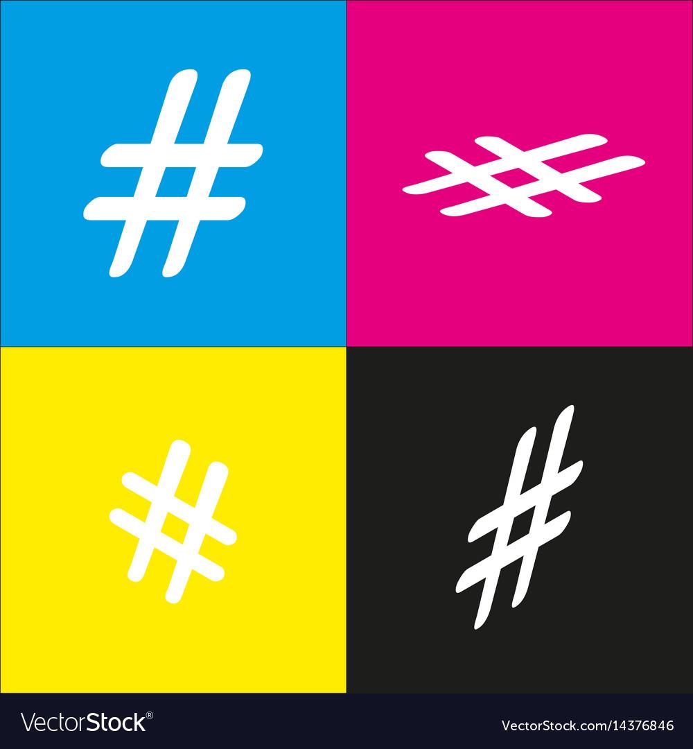 Hashtag sign white icon with