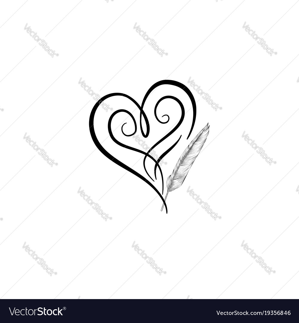 Love Heart Drawn By Feather Pen St Valentines Day Vector Image