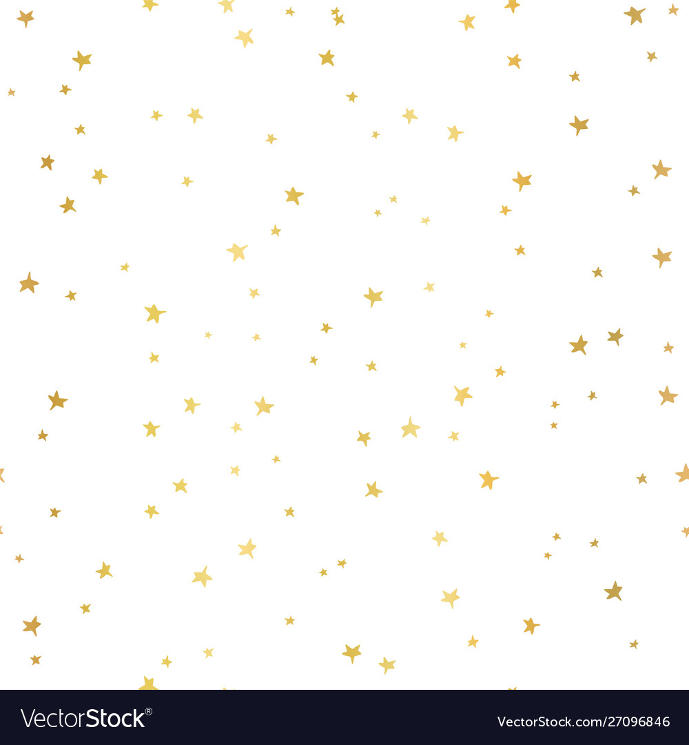 Seamless pattern gold foil stars on white