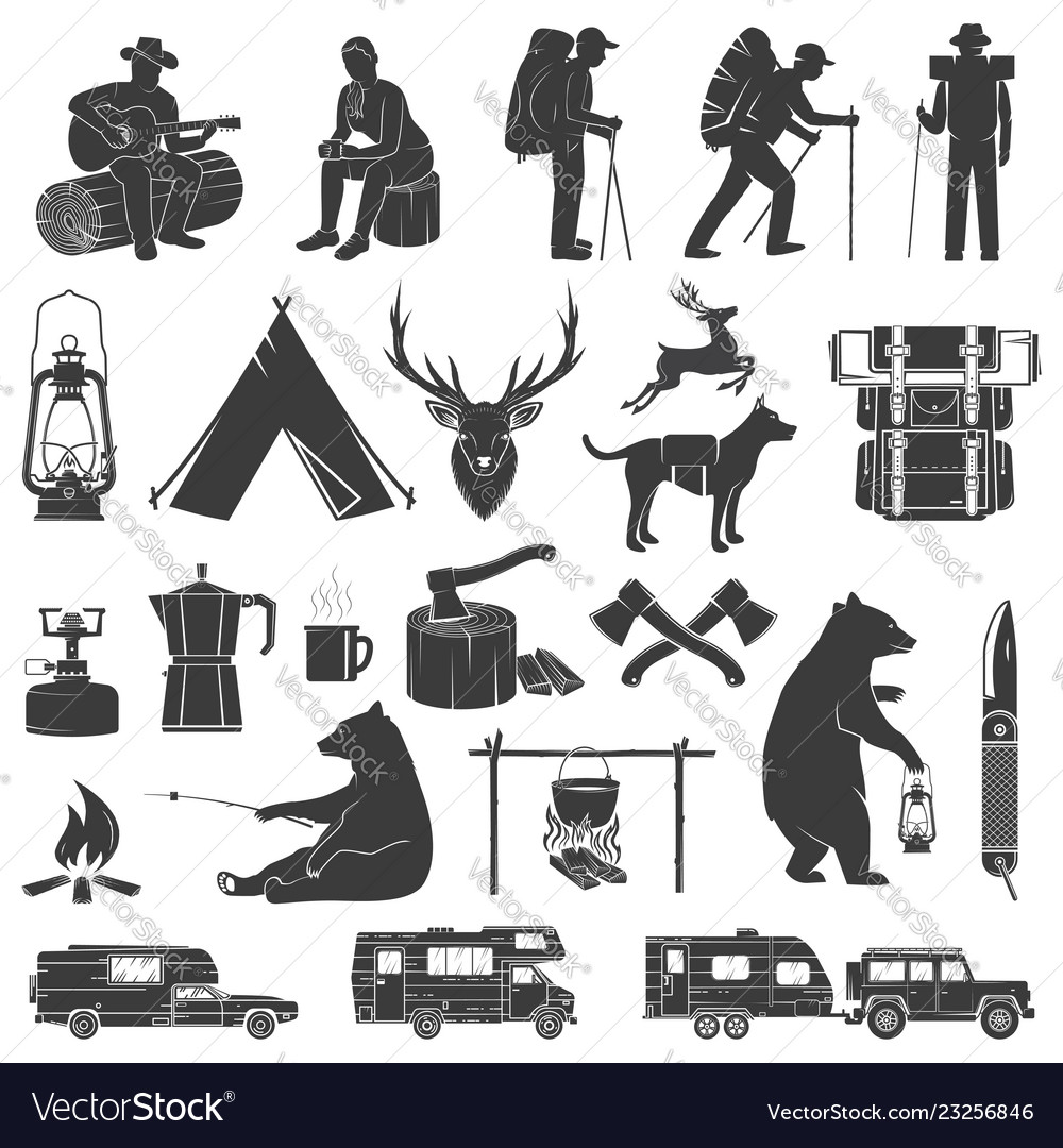 Set of camping icons isolated on the white