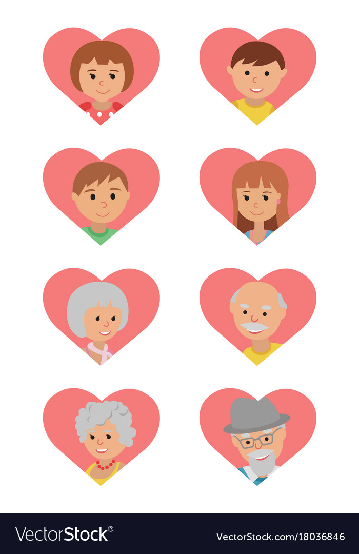 Set of colored icons faces family members