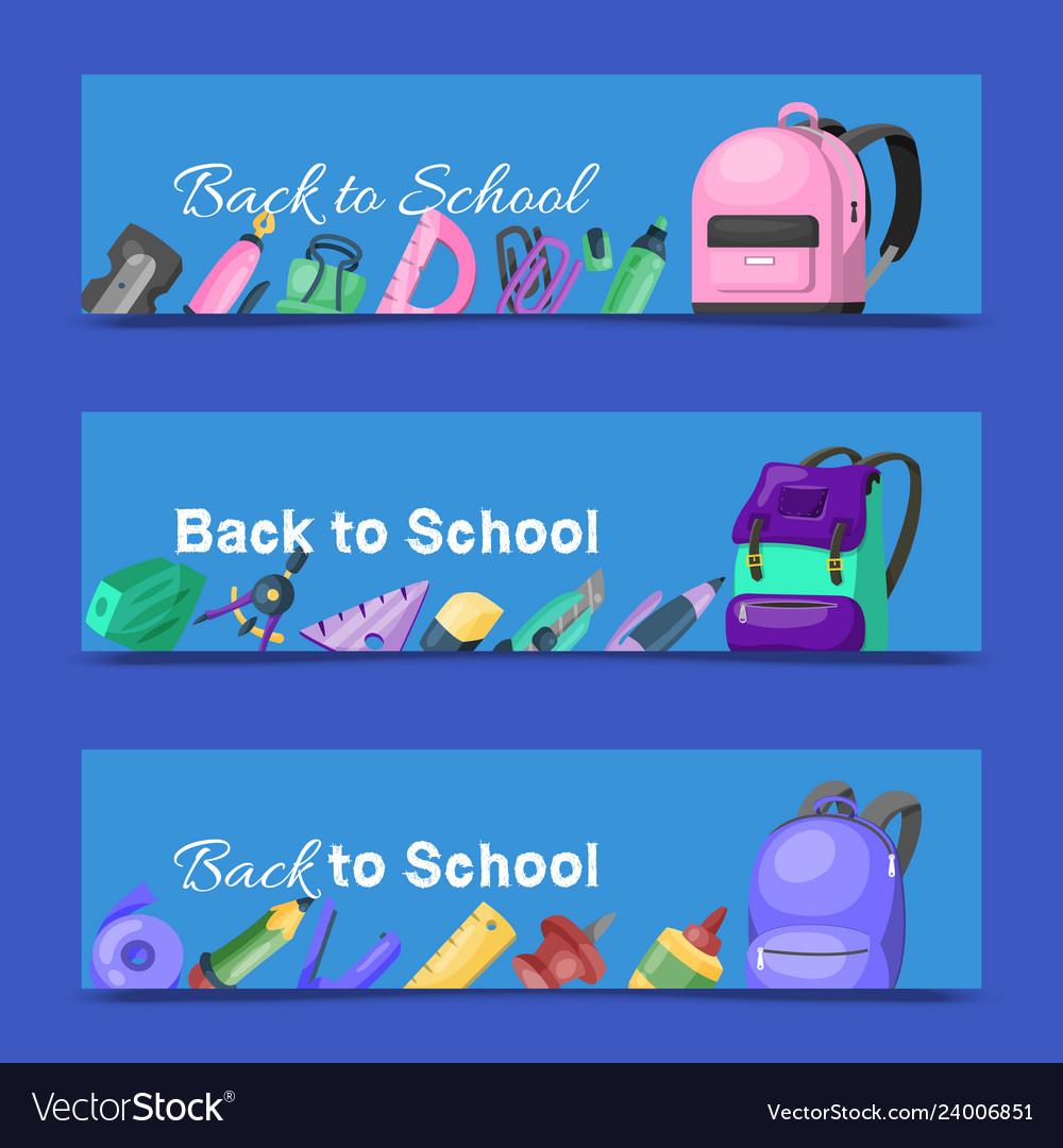 Back to school set of banners kids school